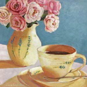Maalaus Vaaleanpunaisia ruusuja maljakossa ja kahvikuppi, turkoosi tausta